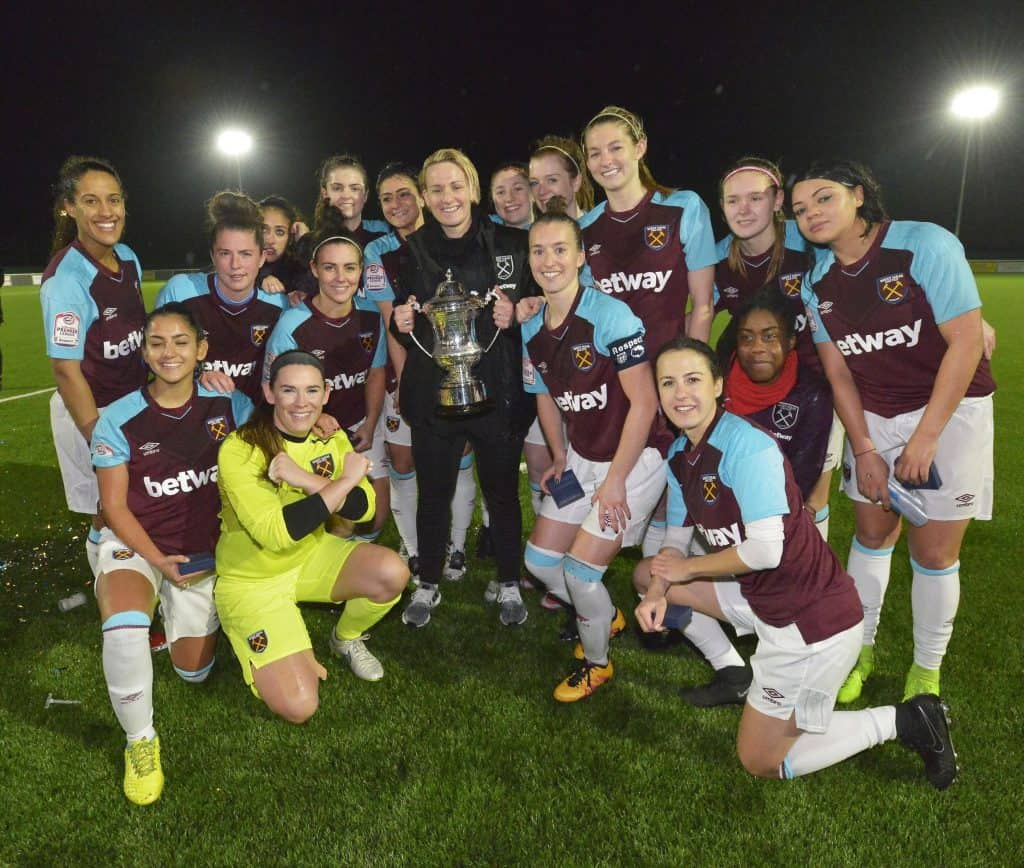 west ham goodmove womens team with cup